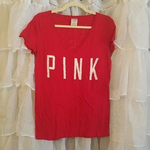 Pink V neck Cardinals themed t-shirt